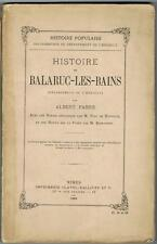 FABRE HISTOIRE DE BALARUC-LES-BAINS 1882 UN DES 41 EXEMPLAIRES NUMÉROTÉS 12 GRAV