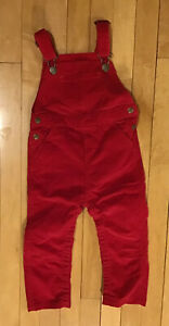 NWOT Hanna Andersson Classic Soft Red Corduroy Overalls Sz 90cm 3T Snaps Unisex