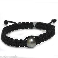 Tahitian  Pearl  Bracelet  Macrame / Shamballa Adjustable 12mm
