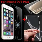9H Tempered Glass Screen Protector + Clear TPU Case for iPhone 7 7 Plus 6 5s New
