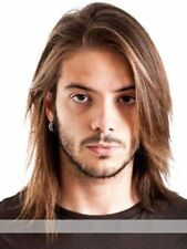 Fashion Handsome Brown Mixed Color Medium Wig Natural Comfort Men's Straight Wig