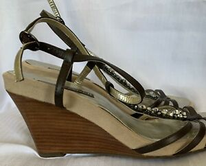 Next Sole Reviver Brown Leather Stone Embel Wedge Slingback Shoes Size 8(42)D