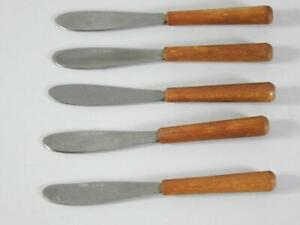 """(5) Vintage Japanese Stainless Wooden Handle 4"""" Cheese Spreader Knives"""