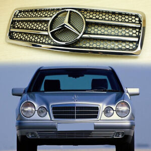 Mercedes-Benz W210 2 Fin Chrome Gloss Black Front Grille Pre-Facelift 1996-1999