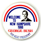 """Tough ~ """" WELCOME TO NEW HAMPSHIRE 1988 / GEORGE BUSH """"  ~  1988 Campaign Button"""