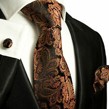 Braunes Krawatten Set 3tlg 100% Seidenkrawatte 630