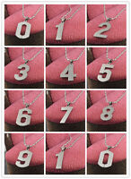 Stainless Steel Chain Number Pendant Necklace Charms figure 0~9