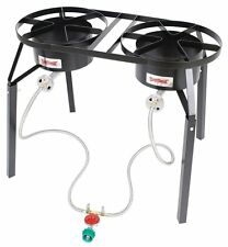 Bayou Classic DB250 Dual Burner Outdoor Propane Gas Cooker with Legs 10 psi