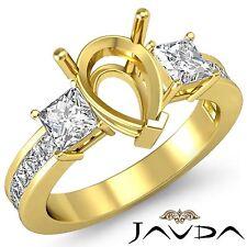 Three 3Stone Diamond Wedding Ring 14k Yellow Gold Princess Pear Semi Mount 1.1Ct