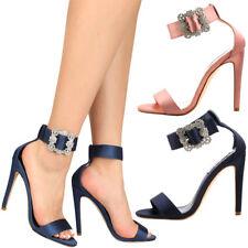NEW Open Toe Rhinestone Crystal Embellished Ankle Strap High Heel Pump Sandal US