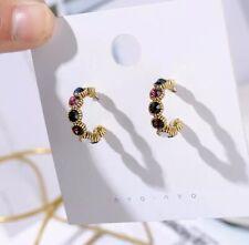 Small Multi Colour Hoop Vintage Earrings Gold Crystal Statement ASOS uk