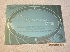 James Bond 50th Anniversary Series 2 Gold Plaque #P 20 Die Another Day        ZJ