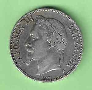 27HB   5  FRANCS   1869  A   NAPOLEON  III        ARGENT         ASSEZ    RARE