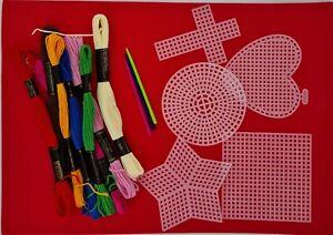 Cross Stitch Kit Children Starter 5 Plastic Aida  8 Yarns 3 Needles