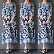 Womens Oversized Floral Print Half Sleeve Crewneck Casual Loose Long Maxi Dress