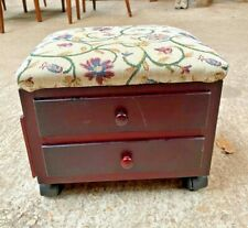 Small Footstool on Castors with Drawers Storage 12x10in 30x25cm x 10in/25cm high
