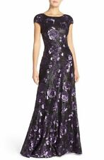 NWT VERA WANG Sz6 CAP SLEEVE V-NECK BACK SEQUIN ROSE GOWN DRESS PURPLE $428