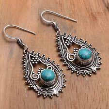 "Jewelry 1.8"" Ae 84496 Turquoise Handmade Drop Dangle Earrings"