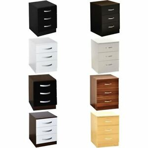 Hulio Riano 3 Drawer Chest Solid Wood High Gloss Bedroom Storage Furniture Unit