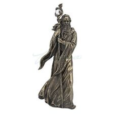"""Legendary Wizard Merlin Cloaked With Staff Statue Sculpture Figure 11"""" Tall"""