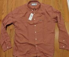 Mens Lacoste Gingham Checked Button Down Woven Shirt Terra Cuite 45 XL/2XL $90