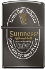 Zippo Guinness Logo Two Tone Laser Engraved Ebony Finish Windproof Lighter *NEW*
