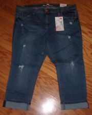 NEW! Almost Famous PLUS SIZE 22 ~ Cuffed DISTRESSED Capri JEANS ~ $50 NWT