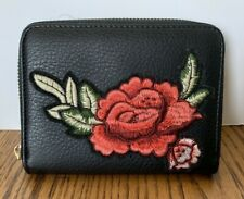 Dream Control Black Faux Leather Zippered Wallet Embroidered Rose