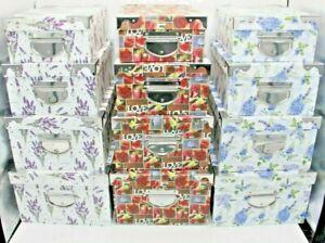 Set Of 4 Storage Boxes Medium - Beautiful Flower Design With Metal Handles
