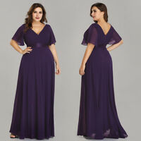 Ever-pretty US Women Plus Size Evening Gowns Double V-neck Cocktail Party Dress