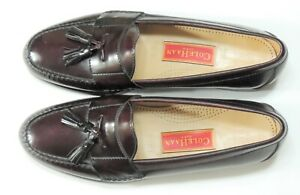 COLE HAAN Pinch Tassel Loafers HandSewn Leather Men's Burgundy Dress Shoes 11.5C