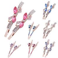 Women Girl Crystal Rhinestone Butterfly Barrette Hairpin Elegant Headwear Sweet