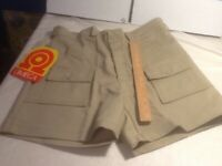 "Omega  Poly Cotton Hiking Utility Shorts 34"" Waist Beige 6 Pockets Made In USA"