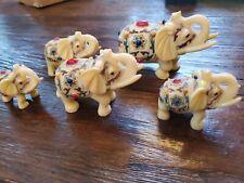 Set Of 5 Vintage Resin Elephants