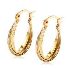 Womens Yellow Gold Filled Scrub Hoop Earrings Earings Statement lot