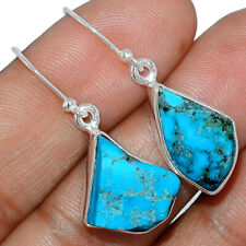 Sleeping Beauty Turquoise Rough 925 Silver Earrings Jewelry AE164244