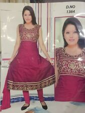 "44"" XL Salwar Kameez Bollywood Indian Diwali Cotton Dress Plum Purple Gold HL44"
