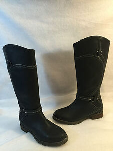 Ariat Knee High Side Zipper Boot Black Leather Round Toe Low Heel 7 B