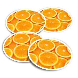 4x Round Stickers 10 cm - Healthy Food Sliced Orange  #3343