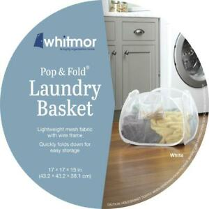 Whitmor Pop & Fold 2 Bushel White Mesh Fabric Laundry Basket 17 x 17 x 15 inch
