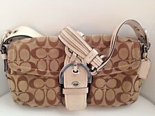 Coach Signature Shoulder Bag 6314 - Beige & White - Snap Closure - Hang Tag