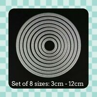 Metal Cutting Die - CIRCLES with Stitch Detail -  Set of 8 - Crafts - Scrapbook