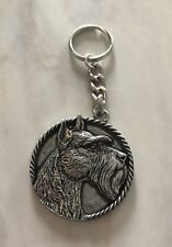 Rare Vintage Miniature Giant Schnauzer Key Chain Ring Brooch Dog Canine Keychain