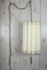 Mid Century Retro Swag Lamp Cloth Shade Ceiling Light Fixture Hollywood Regency
