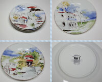 Pier 1 Destination Plates Painted Decoration Porcelain Set of 3
