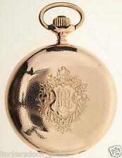 IWC TASCHENUHR IN 14ct ROTGOLD 3 DECKEL GOLD ca129g UM 1898 VERSCHRAUBTE CHATONS