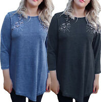 CLEARANCE Uk Plus Size 10- 20 Ladies 3/4 Sleeve Sparkly Top Diamantes asymmetric