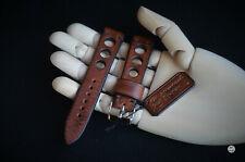 20 mm Cinturino artigianale Racing Rally Vintage Leather Watch Strap Handmade