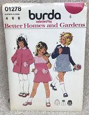 Vintage Burda 01278 Child Size 4 Girls' Dress & Jacket Sewing Pattern Sealed