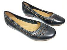 Clarks Artisan en Cuir Noir Ballet Chaussures UK 3D porté une fois